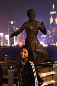 My wife with Bruce Lee's Statue at Avenue of Stars